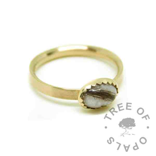 gold lock of hair ring with unicorn white resin sparkle mix, brushed band. 14ct gold