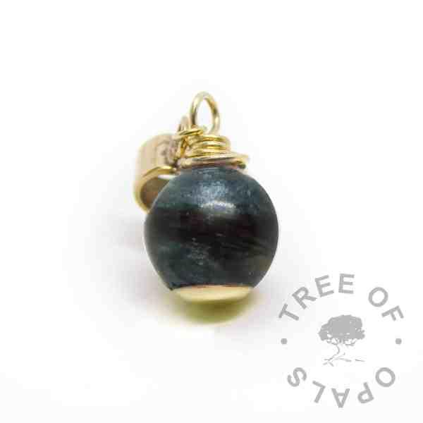 vampire black resin sparkle mix solid gold lock of hair pearl. European setting for Chamilia and Pandora bracelets - hair Pandora charm