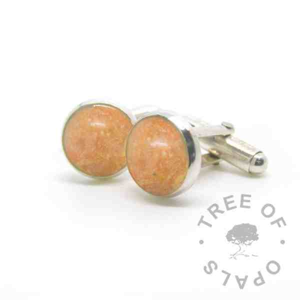 cremation ashes cufflinks, tangerine orange resin sparkle mix and subtle gold leaf