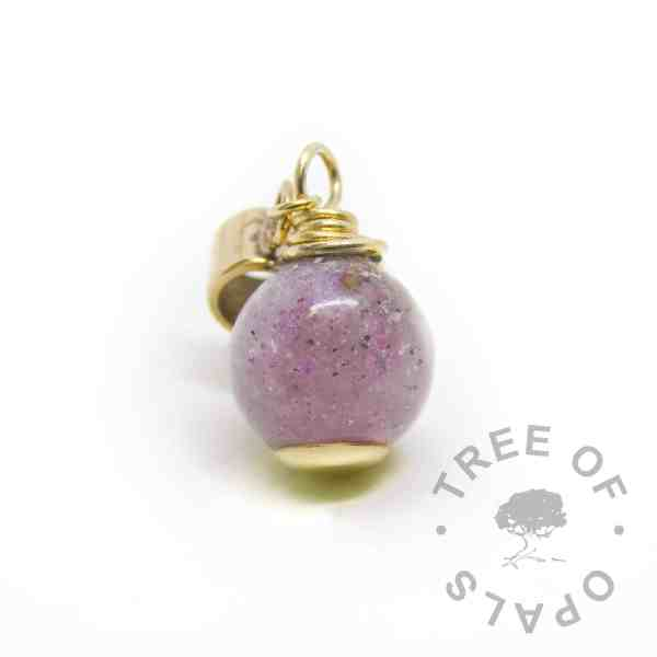 gold ash pearl Euro setting for Chamilia and Pandora bracelets. Orchid purple resin sparkle mix, solid gold setting