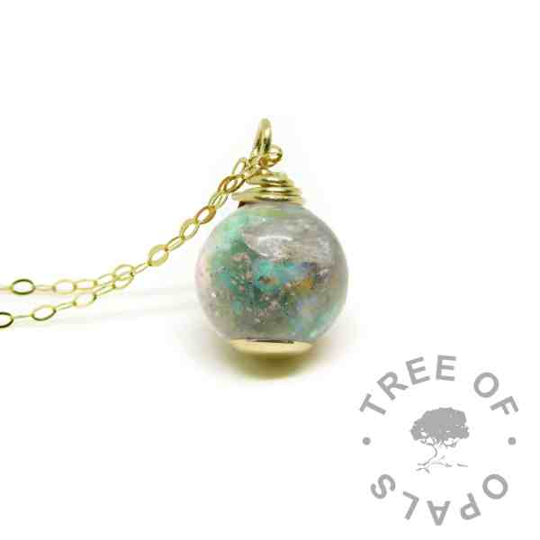 solid gold cremation ash pearl necklace with mermaid teal resin sparkle mix and October birthstone genuine opal slices