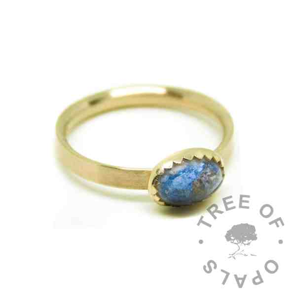 solid 14ct gold umbilical cord ring, Aegean Blue resin sparkle mix, brushed band. Mockup