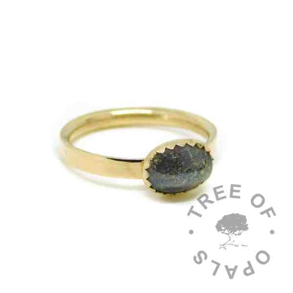 gold umbilical cord ring black, solid 14ct gold hallmarked. Vampire Black resin sparkle mix, shiny band ring.
