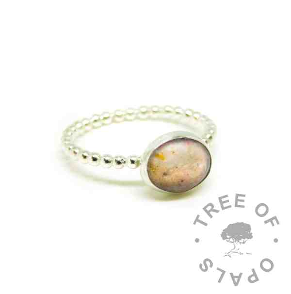 pink umbilical cord ring, Fairy Pink resin sparkle mix, bubble wire Argentium silver band