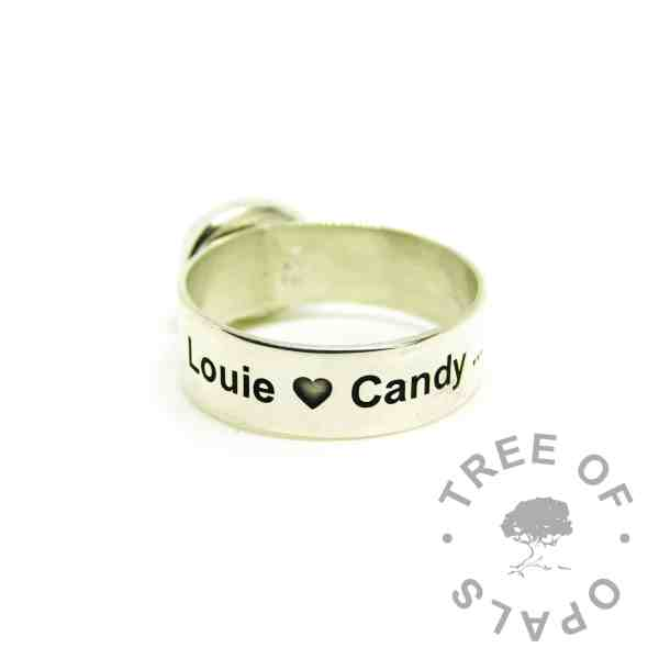ashes jewellery engraved ring, 6mm shiny band engraved outside with Arial font and heart emoji