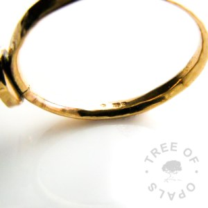 Memorial Jewellery FAQ's 14ct gold ring hallmarked with the Tree of Opals maker's mark