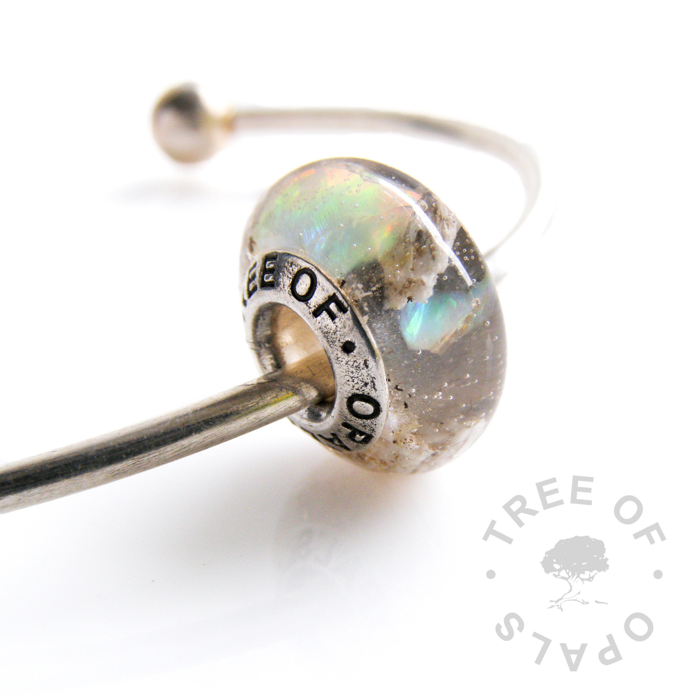 cremation ash charm bead with crystal clear resin and genuine cracked opal (October birthstone) sterling silver Tree of Opals solid core Pandora Chamilia cremains