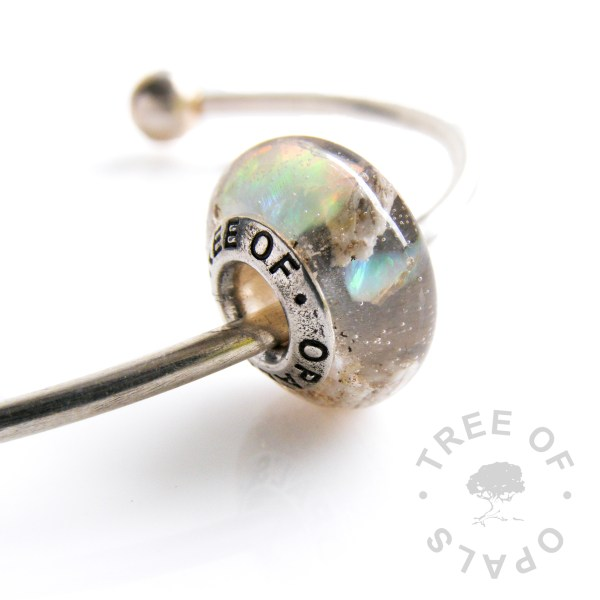 cremation ashes charm bead with crystal clear resin and genuine cracked opal (October birthstone) sterling silver Tree of Opals solid core Pandora Chamilia cremains
