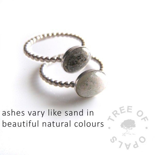ashes vary like sand in beautiful natural colours meaning that your piece's final colour will vary depending on the cremains of your loved one. These two rings were made with completely clear resin