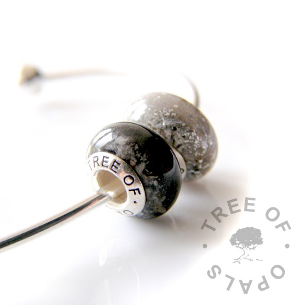 cremation ash charm bead black resin and shimmer, white resin and silver leaf charm duo