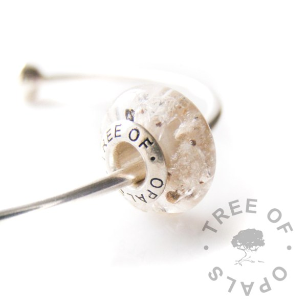 cremation ash charm bead clear resin