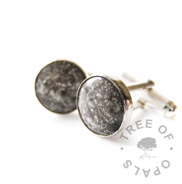 cremation ash cufflinks in Sterling silver handmade settings, cremation ashes encased in resin