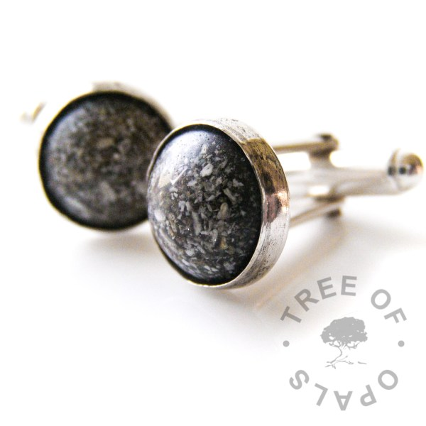 cremains cufflinks in Sterling silver handmade settings, cremation ashes encased in black resin