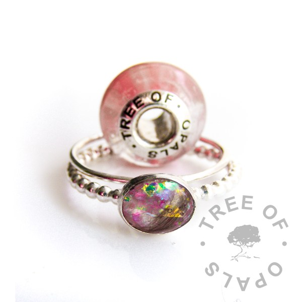 first curl charm and ring with pink opalescent flakes