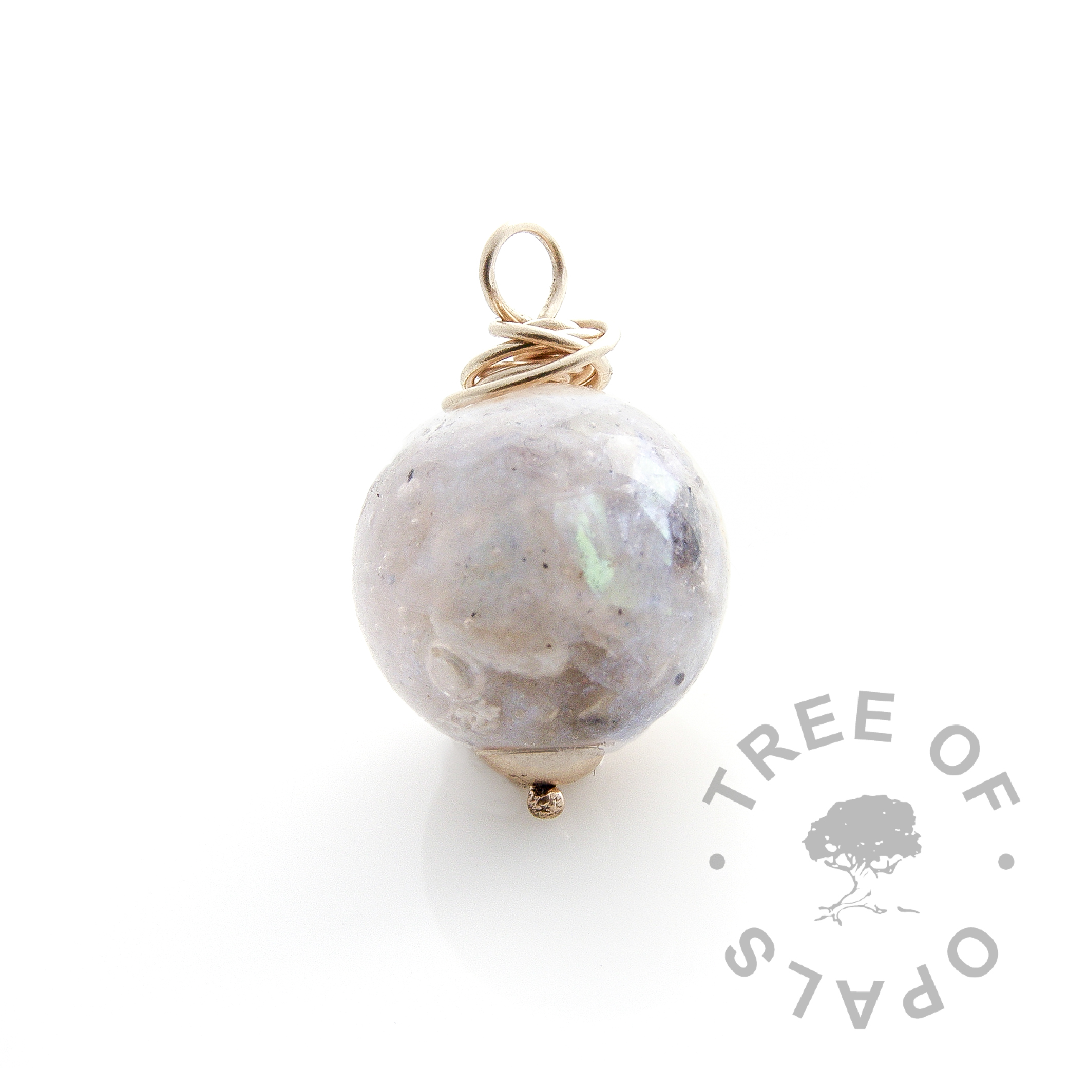 gold glass cremation orb mockup - pale blue pearlescent gold cremation ash pearl necklace wire wrapped Tree of Opals memorial