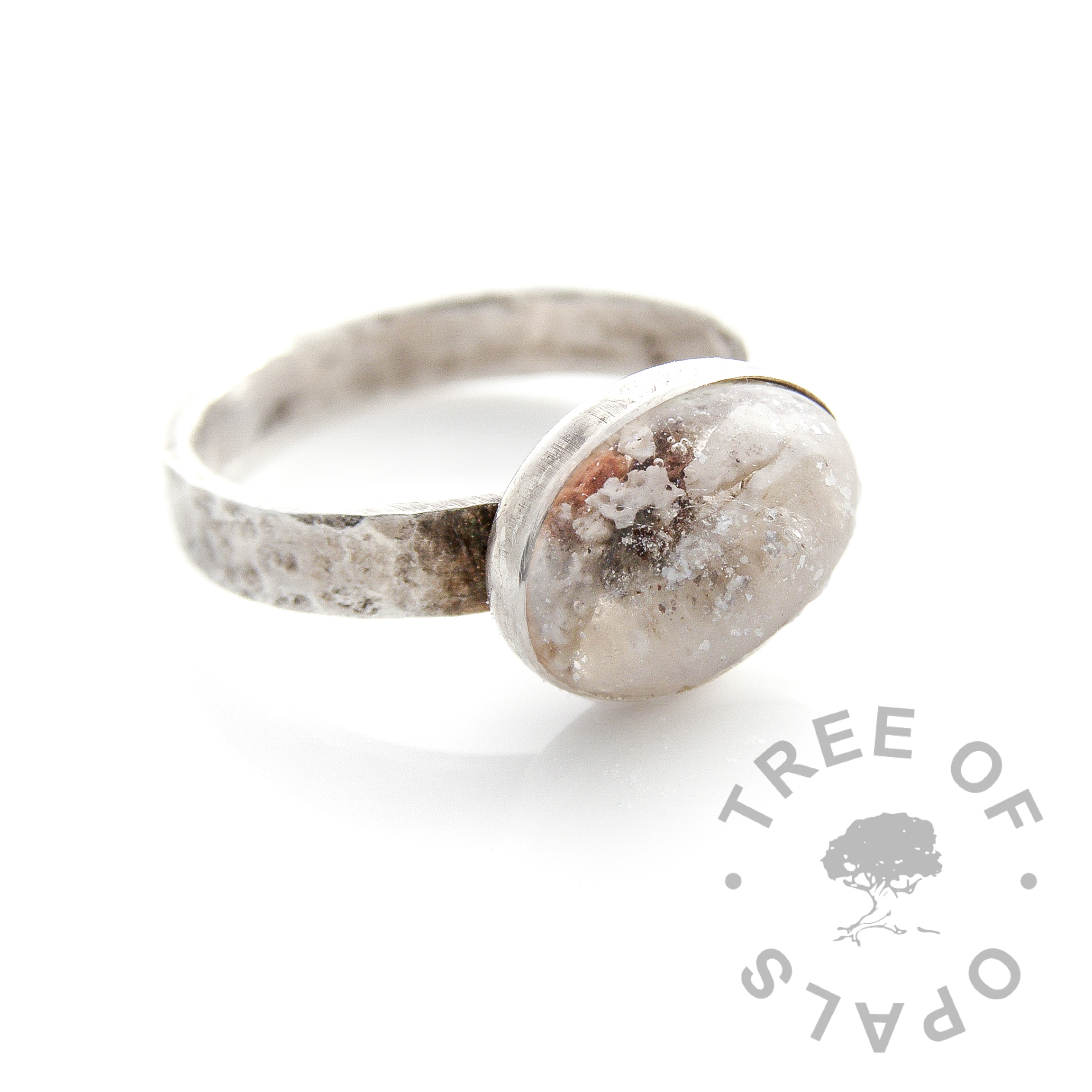 cremation ash ring silver leaf textured band with a slight antique effect by Tree of Opals