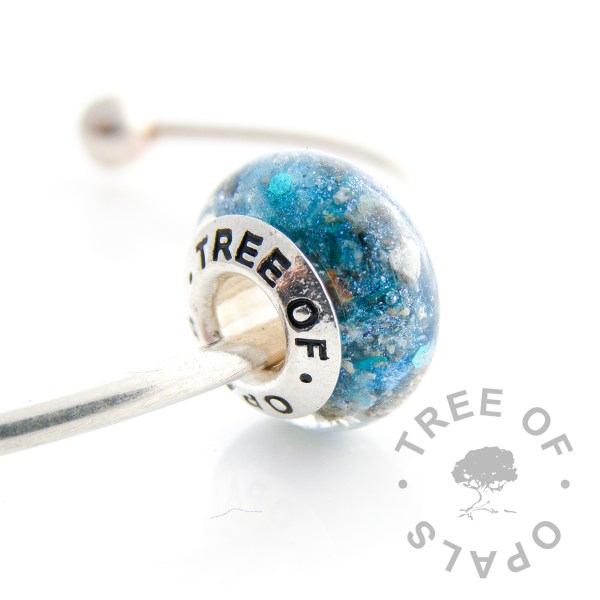 cremation ash charm azure blue shimmer and mermaid glitter with Tree of Opals core