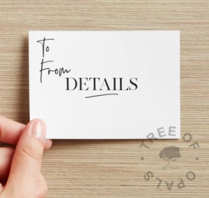 Tree of Opals gift certificate back. This can be sent on its own or with a kit for cremation ash, hair or finger and handprints