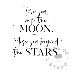love you past the moon, miss you beyond the stars engraved disc