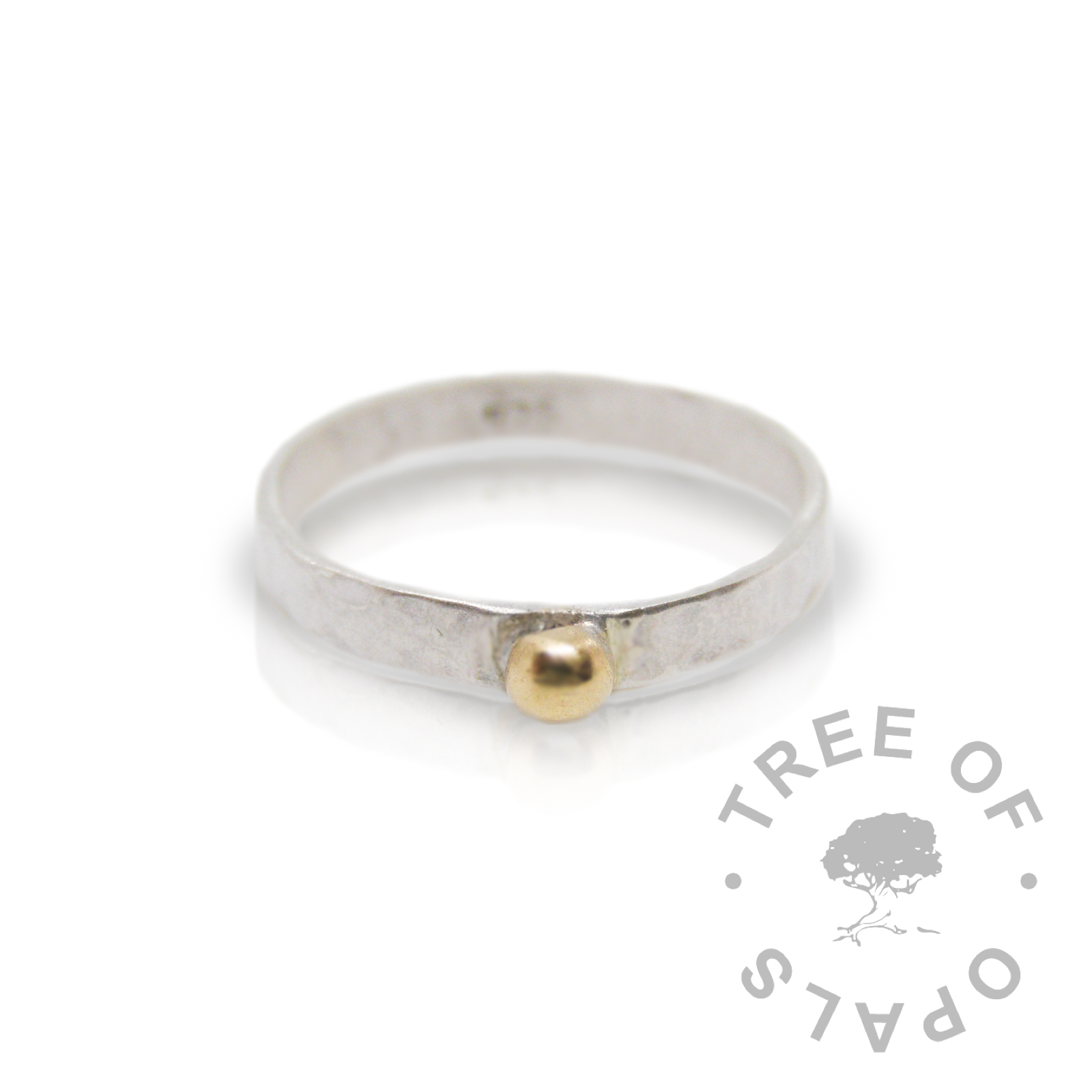 textured wide band ring with 14ct gold ball accent