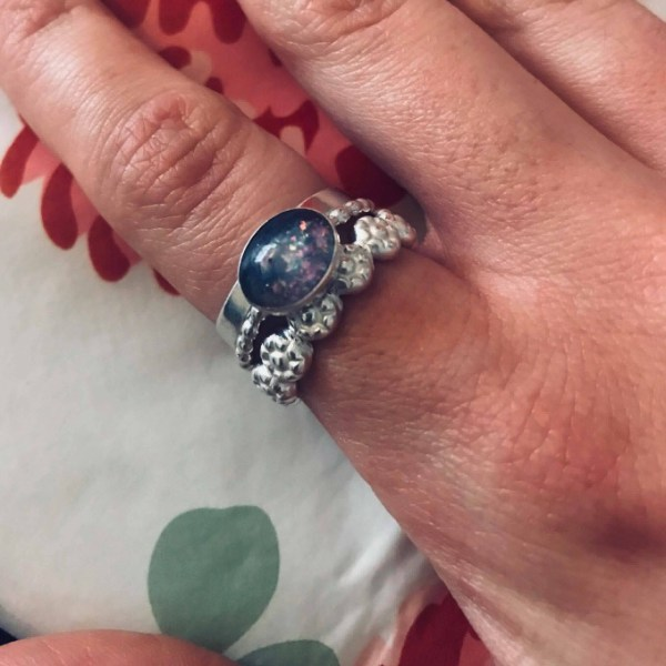 Natasha's memorial rings, lock of hair ring and two stacking rings, brushed wide band ring and flower wire slim band ring Tree of Opals client own jewellery photos