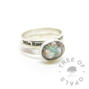 cremation ash ring and engraved stacking ring in solid sterling silver with brushed bands Tree of Opals