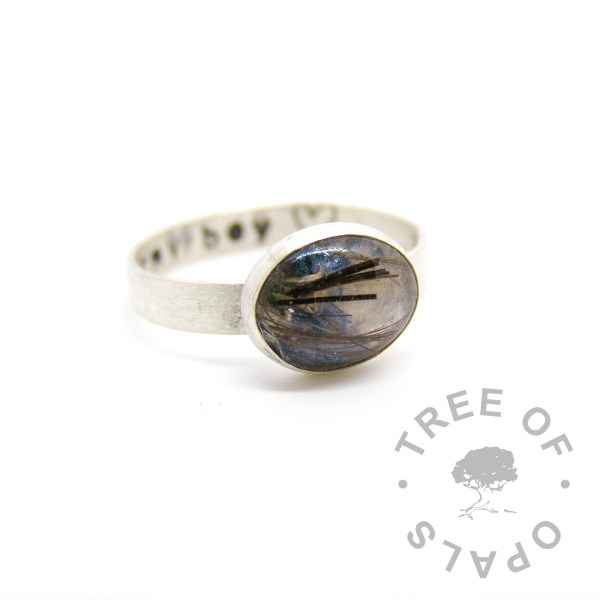 horse hair and forget me not ring on brushed solid sterling silver band with hand stamping