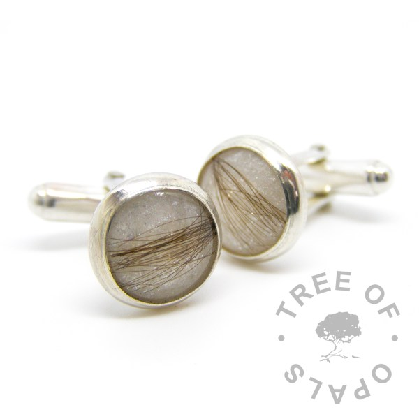 cufflinks with first curl and unicorn white sparkle mix Tree of Opals