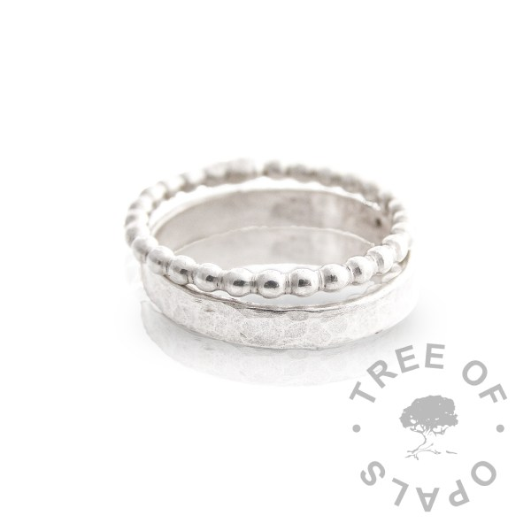 bubble wire ring and textured ring stacked together TREE OF OPALS
