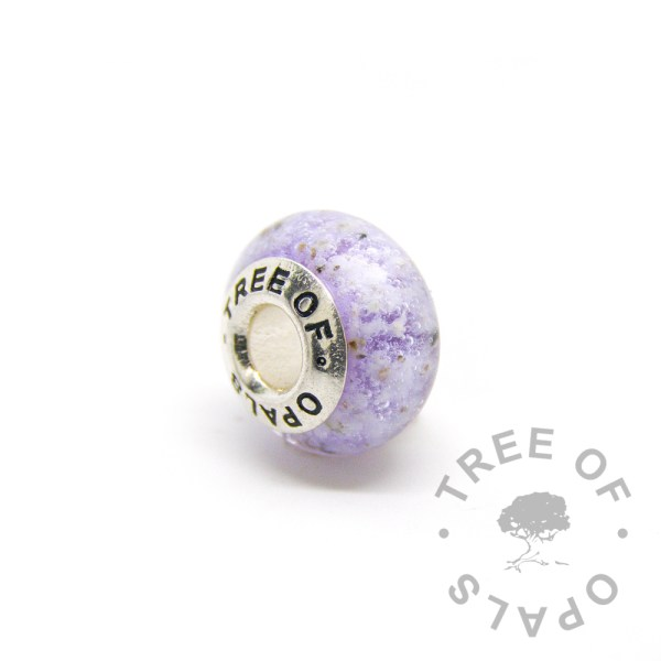purple glass cremation charm with solid sterling silver Tree of Opals core for Pandora bracelets