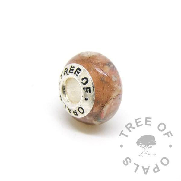 tangerine orange lock of hair charm for Pandora bracelets by Tree of Opals