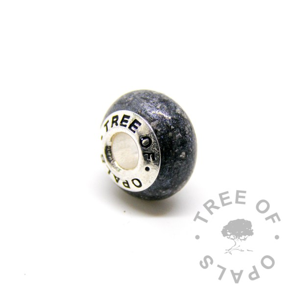 cremation ash charm vampire black with solid sterling silver Tree of Opals core for Pandora bracelets