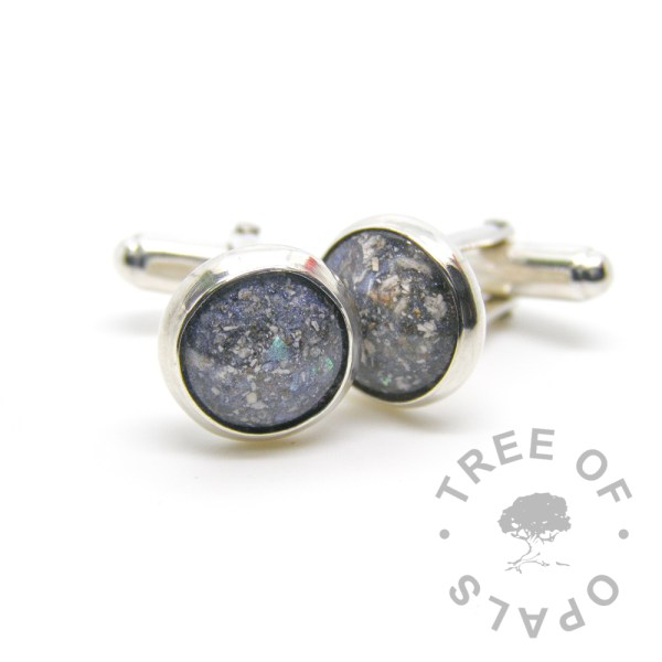 cremation ash cufflinks Aegean blue, 12mm wide resin cremation stone Tree of Opals
