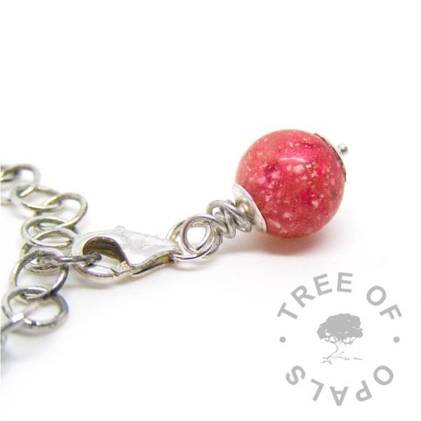 dragon's blood red cremation ash pearl dangle charm with solid sterling silver lobster claw setting for Thomas Sabo style bracelets and necklaces Tree of Opals
