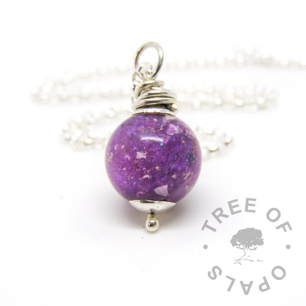 cremation ash pearl with orchid purple with medium-heavy chain upgrade