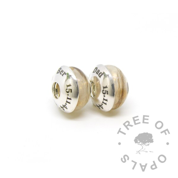 laser engraved charm duo with two lock of hair beads for Pandora bracelets Tree of Opals