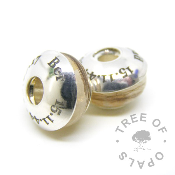 laser engraved charm washer duo with two lock of hair charms for Pandora bracelets Tree of Opals