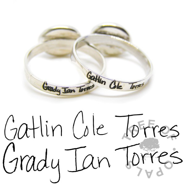 laser engraved ring duo and original handwriting, pro bono baby loss ring Tree of Opals
