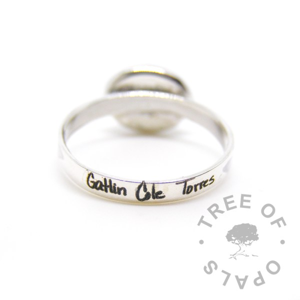 laser engraved handwriting ring pro bono baby loss ring Tree of Opals