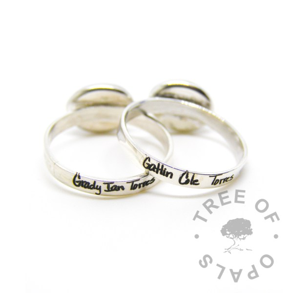 handwriting laser engraved ring duo, shiny bands
