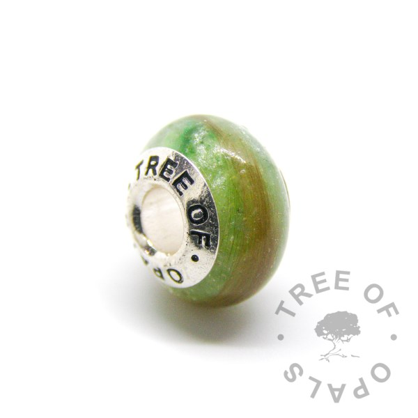 lock of hair charm basilisk green sparkle mix and solid sterling silver Tree of Opals core