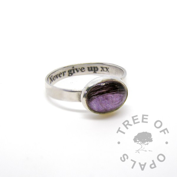 "laser engraved text inside brushed band hair memorial ring orchid purple sparkles in a 10x8mm cabochon ""stone"" by Tree of Opals"