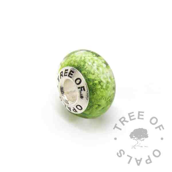 green glass cremation charm ashes, solid sterling silver core for Pandora bracelets, memorial jewellery by Tree of Opals