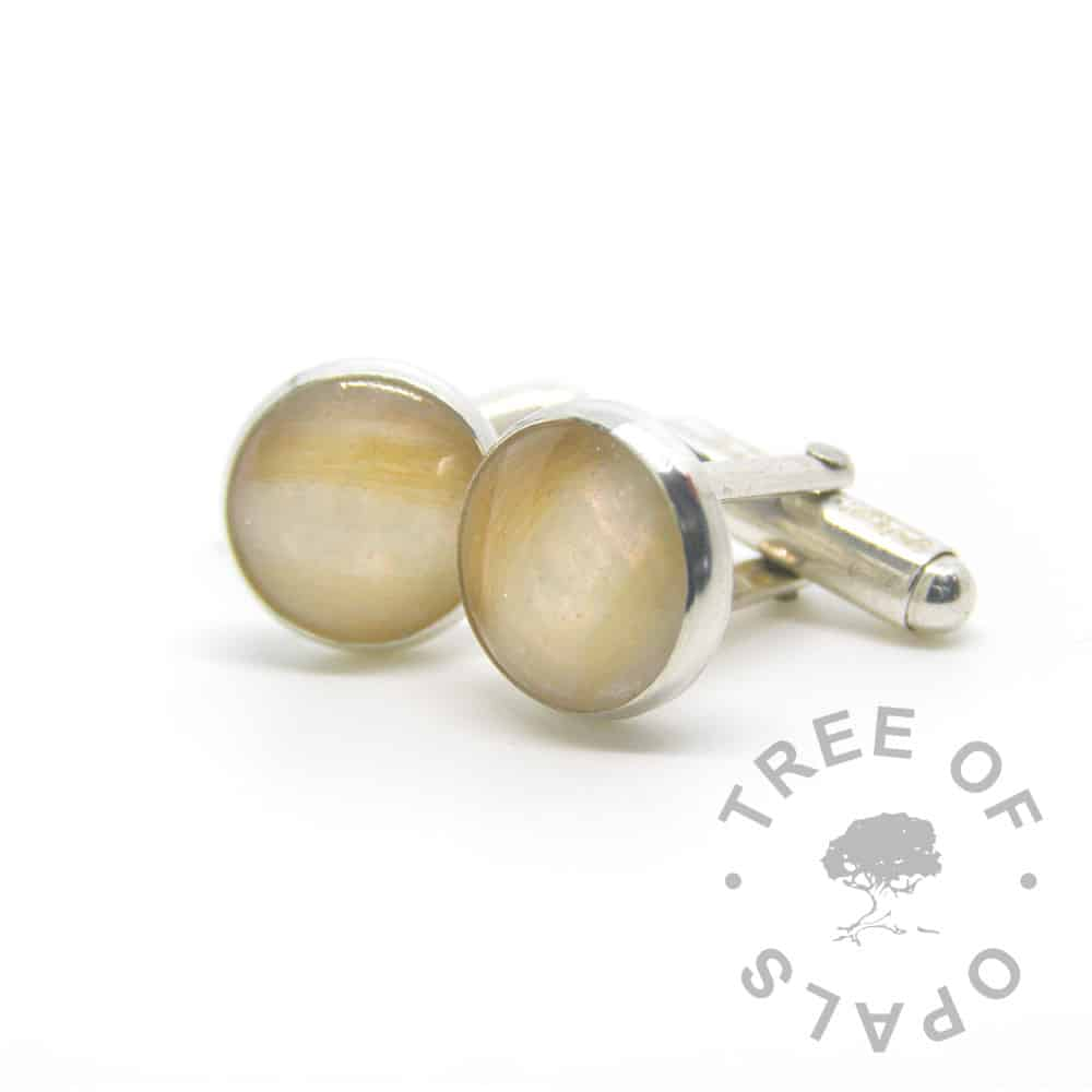 breastmilk cufflinks lock of hair cufflinks red pearlescent, solid sterling silver 12mm settings that are handmade by Tree of Opals