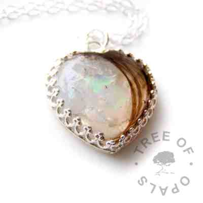 opal clear lock of hair heart necklace