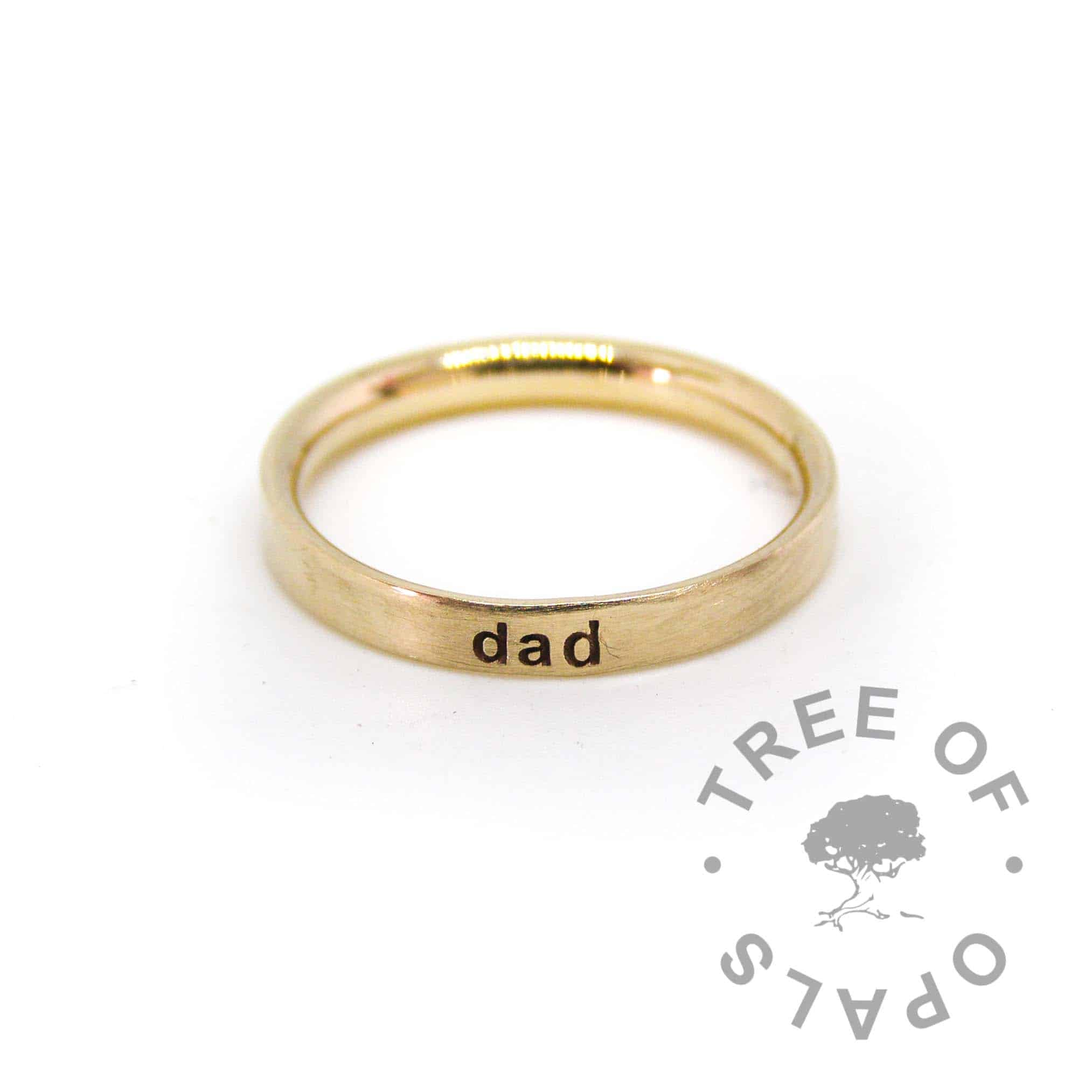14ct gold ring engraved. Hallmarked solid 14ct yellow gold 2.6mm wide, 1.3mm deep comfort fit D-wire, handmade from scratch