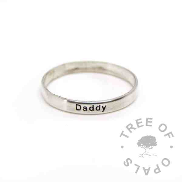 wide band stacking ring engraved stacker 3mm shiny Daddy ring