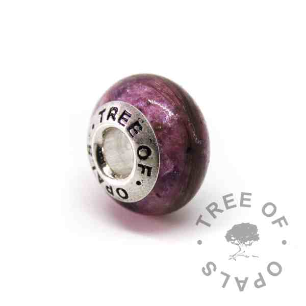 lock of hair charm deep purple and solid silver Tree of Opals core for Pandora bracelets