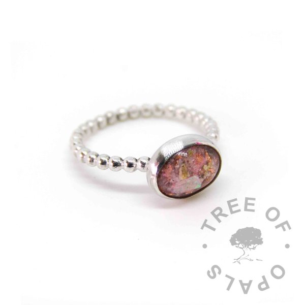 fairy pink sparkle mix, copper leaf and cremation ash ring on bubble band, 100% handmade from scratch memorial ring