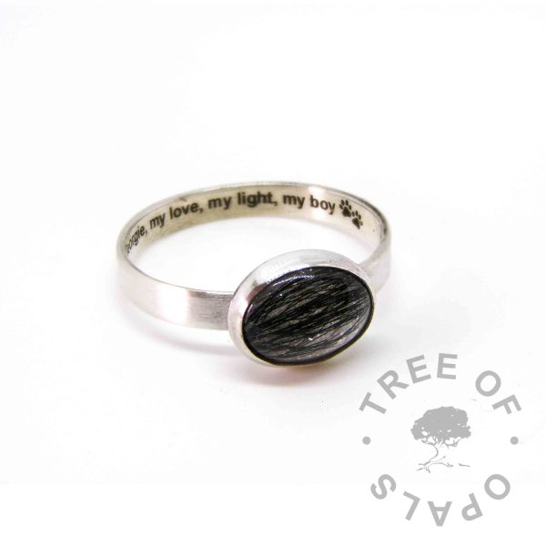 unicorn white lock of hair ring, 3mm brushed band and 10x8mm dog fur cabochon, engraved text